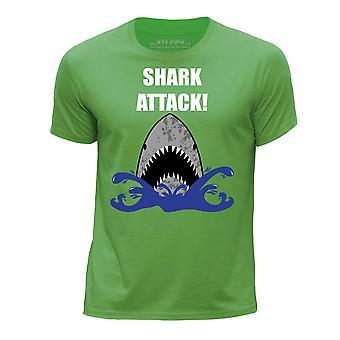 STUFF4 Boy's Round Neck T-Shirt/Shark Attack!/Green