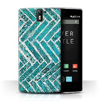 STUFF4 Case/Cover for OnePlus One/Bricks/Stone/Wall/Teal Fashion