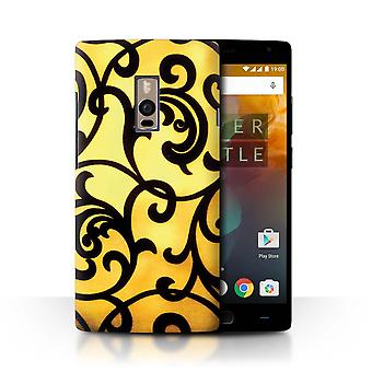 STUFF4 Case/Cover for OnePlus 2/Two/Floral Vine Swirls/Yellow Fashion