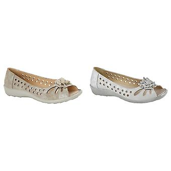 Boulevard Womens/Ladies Flower Punched Open Toe Shoes