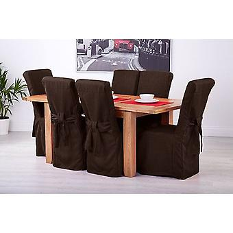 Chocolate Brown Linen Look Fabric Upholstered Slipcovers for Scroll Top Dining Chairs - 8 Pack