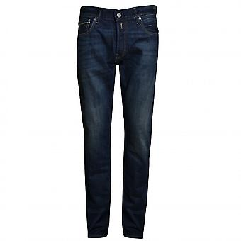 Replay Herren Grover Dark Blue Denim Straight Leg Jeans