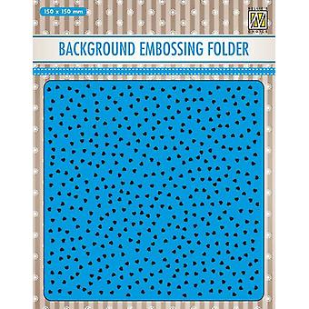 Nellie's Choice Embossing Folder Background small hearts EEB027 150x150mm (11-19)