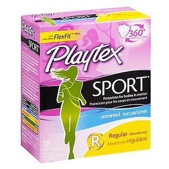 Playtex sport tampons, plastic, regular absorbency, unscented, 18 ea