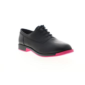 Camper Bowie  Womens Black Leather Lace Up Flats Oxfords Shoes