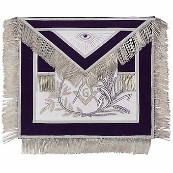 Master mason silver embroidered apron square compass with g purple