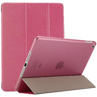 For iPad 2018,2017 9.7in Case,Elegant Silk Textured 3-fold PU Leather Cover,Magenta