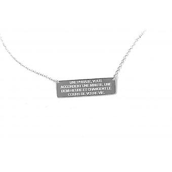 Ley Nat Hugo 2 silver rectangle plate chain necklace