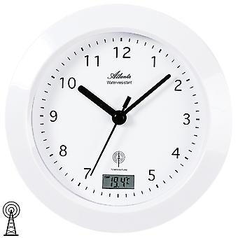 Atlanta 4204/0 wall clock bathroom clock radio analog white water protected with thermometer