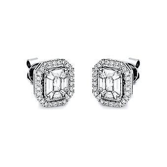 Diamant stud øredobber stud øredobber - 18K 750/- hvitt gull - 0,93 ct. - 2F047W8-4