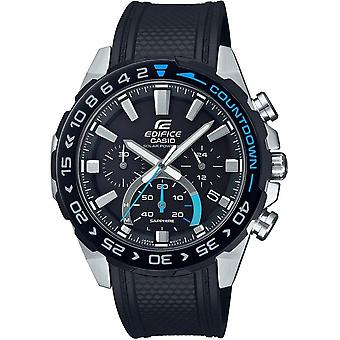 Casio Watches Efs-s550pb-1avuef Edifice Silver & Black Resin Chronograph Solar Powered Men's Watch
