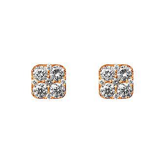 Boucles d'oreilles Coussin Cluster Diamonds et 18K Gold