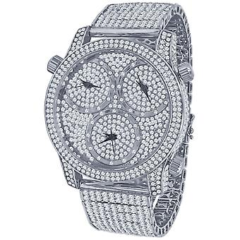 High Quality ICED OUT ZIRKONIA TIMEZONES Uhr - silber