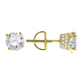925 Sterling Argent Jaune ton Mens CZ Cubic Zirconia Diamant simulé 6mm White Stone Stud Boucles d'oreilles Bijoux Cadeaux pour