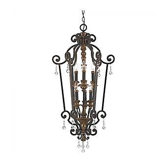 Marquette Pendant, Bronze And Crystal, 6 Bulbs