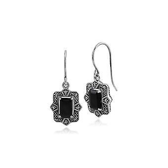 Art Deco Style Octagon Black Spinel & Marcasite Drop Earrings in 925 Sterling Silver 214E850301925