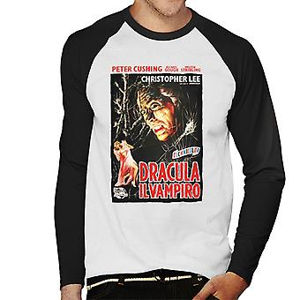 Hammer Horror Films Dracula Italian Movie Poster Men's Baseball Long Sleeved T-Shirt