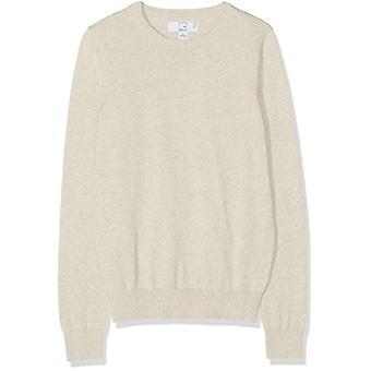MERAKI Women's Cotton Crew Neck Sweater, Bege (Linho), EU M (US 8)