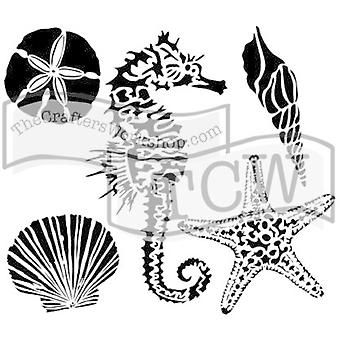 The Crafter's Workshop Sea Creatures 6x6 Inch Stencil