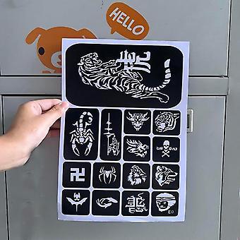 Tattoo Stencils Lion, Tiikeri, Susi Glitter Tattoo Stencil - Piirustus malli