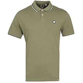 Pretty Green Barton Tipped Piqued Kaki Polo Shirt