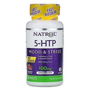 Natrol, 5-HTP, Fast Dissolve, Extra Strength, Wild Berry Flavor, 100 mg, 30 Tabl