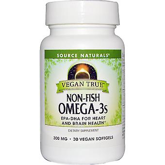 Source Naturals, Vegan True, Non-Fish Omega-3s, 300 mg, 30 Vegan Softgels