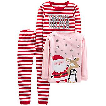 Simple Joys by Carter's Girls' 3-Piece Snug-Fit Cotton Christmas Pajama Set, ...