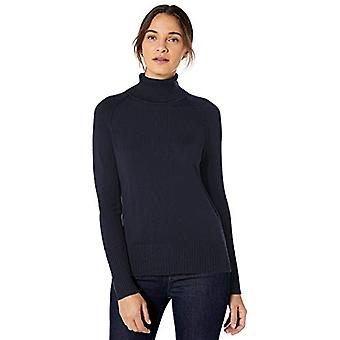 Brand - Lark & Ro Women's Rib Detail Turtleneck Sweater, Dark Navy , X...