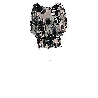 NorthStyle Women's Top Floral Print Butterfly Sleeve Zwart