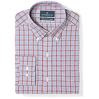 BUTTONED DOWN Men's Classic Fit Button Collar Pattern Non-Iron Dress Shirt, R...