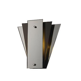 inspirert deco - atlantis - 3 lag flush flush vegg lampe, E27 svart, speil