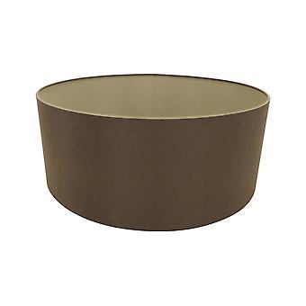 Round Cylinder, 600 x 220mm Dual Faux Silk Fabric Shade, Raw Cocoa, Grecian Bronze