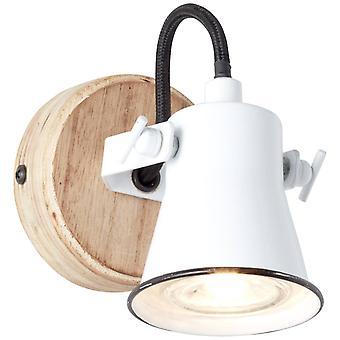 BRILLIANT Lampe Frø Væg Spot Hvid / Træ Bright   1x PAR51, GU10, 5W, egnet til reflektorlamper (ikke inkluderet)   Skala