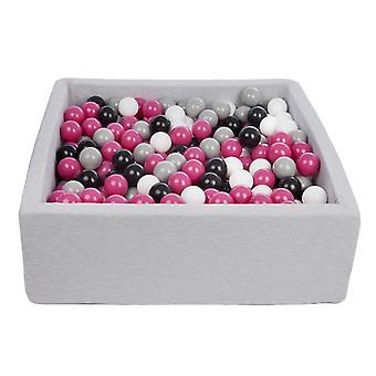 Poço de bola quadrada 90x90 cm com 450 bolas pretas, brancas, roxas e cinza