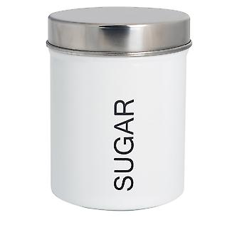 Contemporary Sugar Canister - Steel Kitchen Storage Caddy with Rubber Seal - White