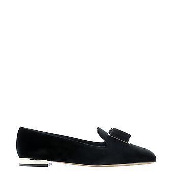 Salvatore Ferragamo 733784 Women's Black Velvet Loafers