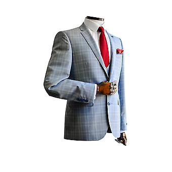 Lazio Light Grey Prince Of Wales Check Suit Jacket