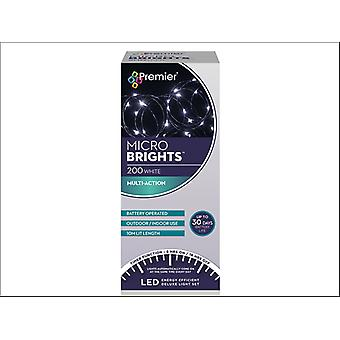 Premier Decorations Battery Multi-Action Micro Bright 200LED 8H White LB151211W
