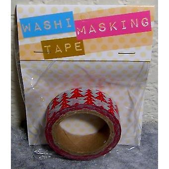1 rouleau (8 mètres) de darice Washi Masking Tape avec des arbres de Noël rouges