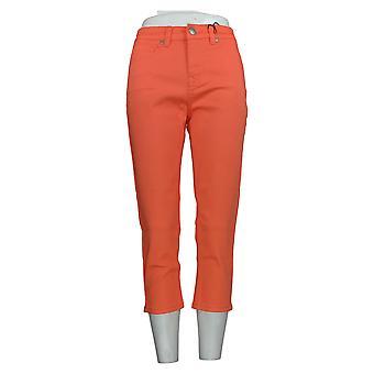 DG2 by Diane Gilman Women's Petite Jeans Coral Orange Cotton Cropped 675-243