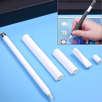 Pour Apple Pencil Creative 4 en 1 Anti-lost (Pencil Cap + Pencil Point + 2*Penholder Cover) TouchPen Silicone Protective Set (Blanc)