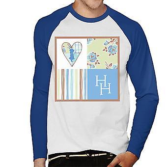 Holly Hobbie Silhouette Kuviot Neliöt Miehet's Baseball Pitkähihainen T-paita