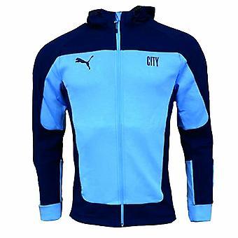 2020-2021 Man City Evostripe Hupullinen takki (vaaleansininen)