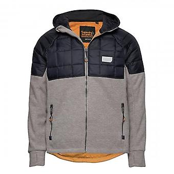 Superdry Polar Fleece Hybrid Zip Up Hoody Jacket Grigio/Navy 07Q
