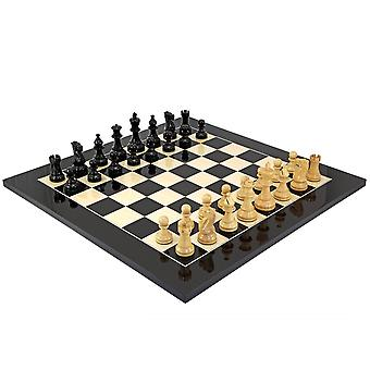 Atlantic Gloss Black and Natural Chess Set