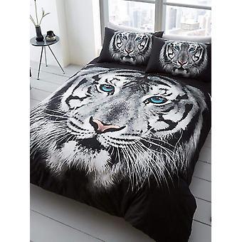 Capa de edredom duplo do rosto de tigre branco e conjunto de fronha