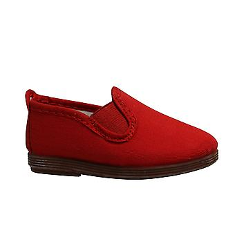 Flossy Style Pamplona Kids Espadrille Slip Op Plimsolls Schoenen 55 Rood