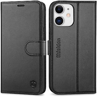 SHIELDON iPhone 12 Mini Case, iPhone 12 Mini Genuine Leather Wallet Case