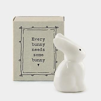 "Mini Matchbox Porcelain Bunny - ""Every bunny needs some bunny"""